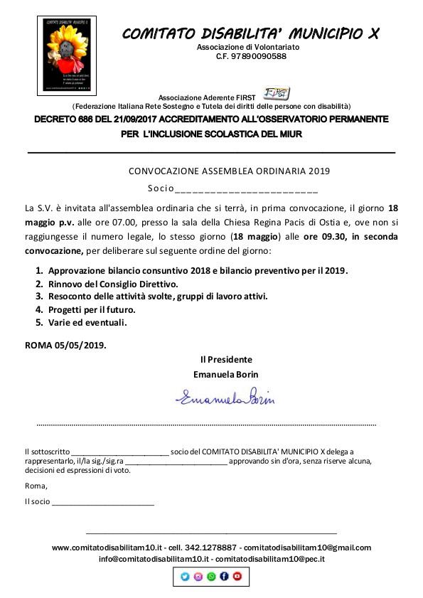 convocazione assemblea comitato
